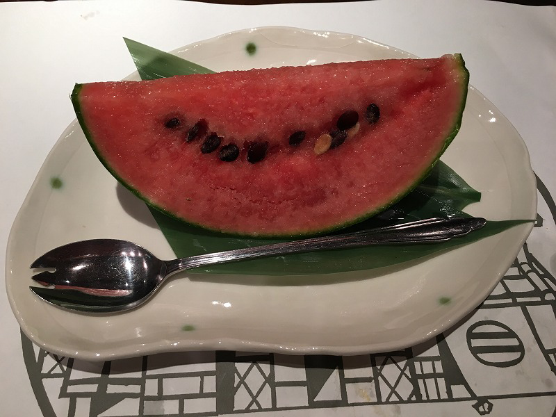 渋谷 神泉 うなぎ のいちのや 小玉スイカ