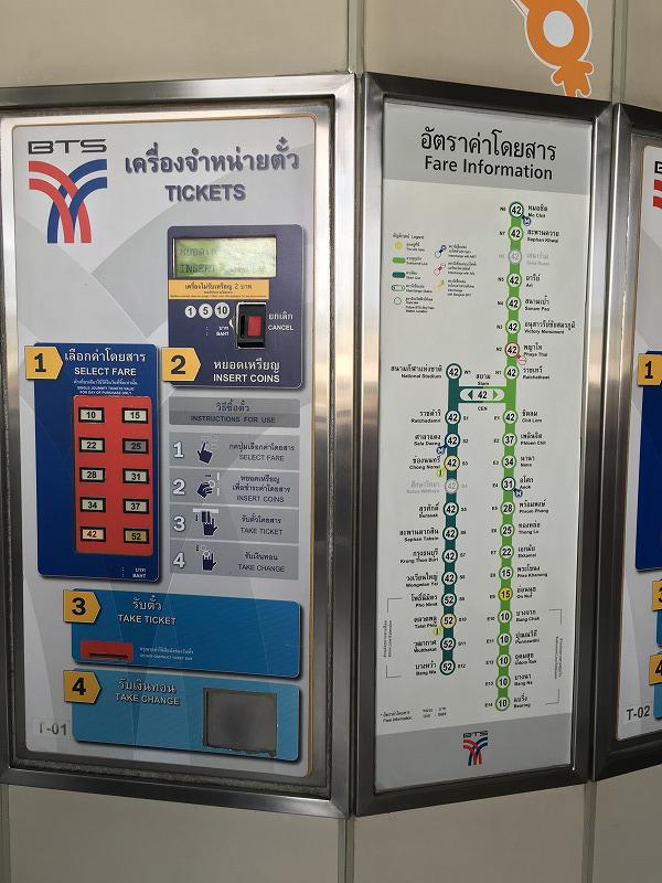 タイ バンコクの高架鉄道BTSの料金表と券売機