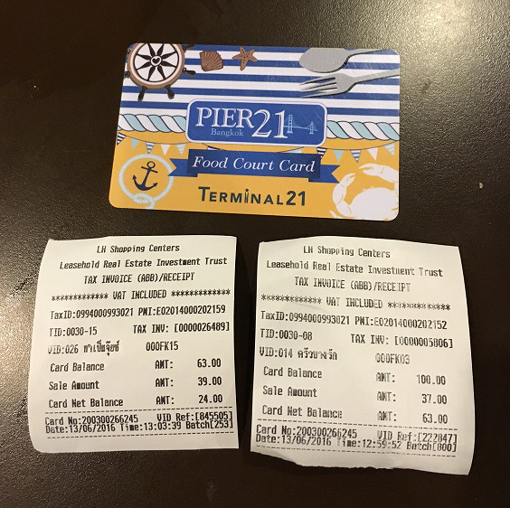 Terminal21のフードコートでプリペイドカードで精算
